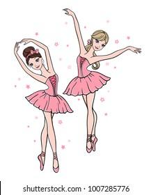 Vector set of cute cartoon ballerinas in pink tutu dresses on white background. Ballet dance illustration