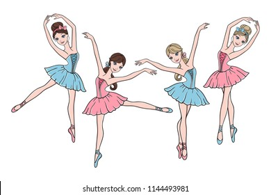 Vector set of cute cartoon ballerinas in pink and blue tutu dresses on white background. Ballet dance illustration