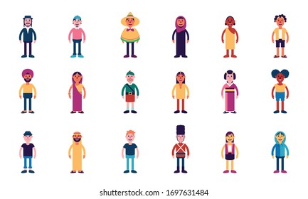 Vector Set Cute Cartoon Character Variety in a City Isolated