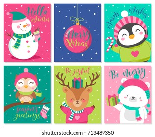 Vector set of cute cartoon character illustration for christmas and new year
