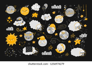 Vector set  with cute cartoon characters and phrases. Beautiful poster for baby rooms or bedroom. Childish backgrounds with moon, stars, cloud, planet, sheep. Hand drawn letters.