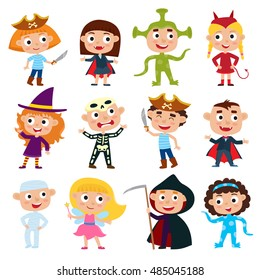 Vector set of cute cartoon children in colorful halloween costumes: pirate, devil, witch, alien, vampire, fairy, mummy, skeleton.