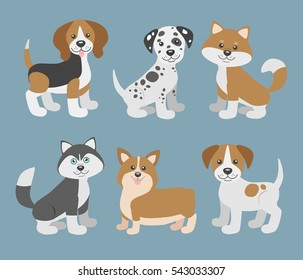 Vector set with cute cartoon dog puppies. Beagle, dalmatian, shiba inu, husky, corgi, jack russell terrier