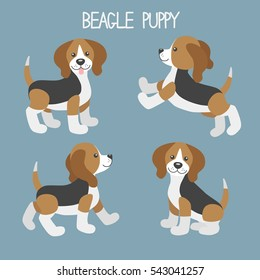 Vector set with cute cartoon dog puppies. Beagle in different poses: walk, jump, sit, stand.
