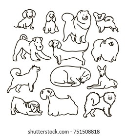 Vector set with cute cartoon dos of different breeds