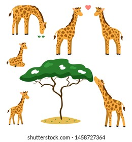 Vector set of cute cartoon giraffes. African animals and tree. Giraffes family, mom, dad and baby.