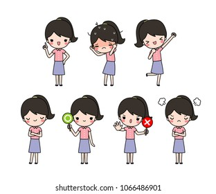 Vector set of cute cartoon long hair woman in blouses and skirt casual cloth with different expression. Isolated on white background. Flat design. Colored vector illustration.