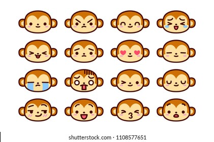 Vector Set Of Cute Cartoon Monkey Icons Isolated