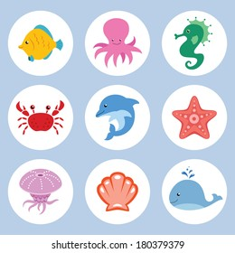 Vector set of cute cartoon sea animals