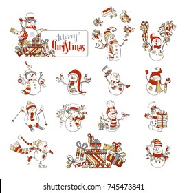 Vector set of cute cartoon snowmen. Snowman is skating. Snowman is skiing. Snowman is singing. Snowman with sign on a heap of gifts. Candy, gift boxes, garland, Christmas baubles, birds and birdhouse.
