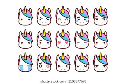 Vector Set Of Cute Cartoon Unicorn Icons Isolated