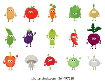 Vector set of cute cartoon vegetable characters. Food cartoon characters concept. Funny kawaii vegetables for kids.