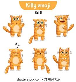 Vector set of cute cat characters. Set 5