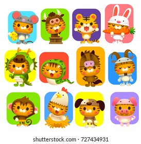 Vector set of cute cat wearing 12 zodiac animal costume.