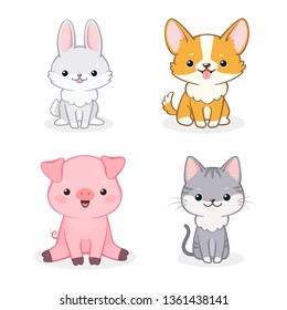 Vector set of cute cheerful cartoon dog, piglet, cat and rabbit. Isolated on white background. Can be used for baby shower invitation and greeting cards