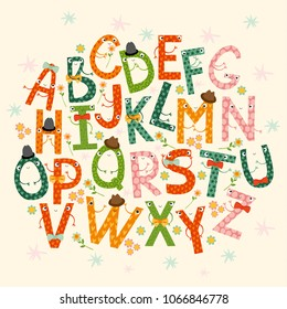 Vector set of cute, cheerful letters. bright characters. children learning the alphabet. Lettering