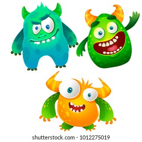 Vector set of cute and cheerful monsters isolated on white background. Illustrations of funny and bright monsters in a children's style