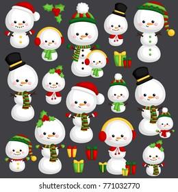 a vector set of cute Christmas snowman