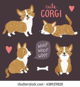 Vector set of cute Corgi dogs. Funny animals. Smiling cartoon characters.