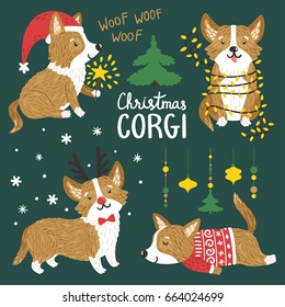Vector set of cute Corgi dogs with Christmas elements. Funny animals with Santa hat, deer horns, garland of lights, norwegian sweater.