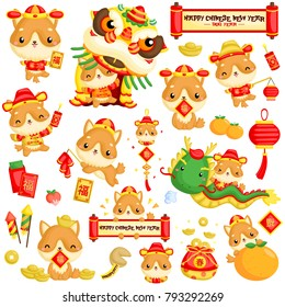 a vector set of cute dog celebrating Chinese new year