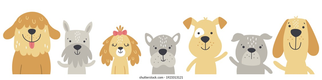 vector set of cute dogs alligned in a row, white background