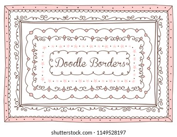 Vector set of cute doodle frames and borders. Hand drawn design element for little princess. Girlish sketch for sketchbook. Loop, stars, decorative ornament, pink picture template. Text contour box
