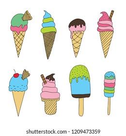Vector set of cute doodle Ice Cream doodles. Cute cartoon ice cream illustrations