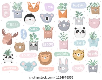 Vector set of cute doodle stickers with funny animals, text and house plants. Poster with adorable objects on background. Valentine's day, anniversary, save the date, baby shower, bridal, birthday