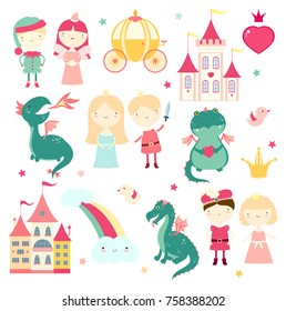 Vector set of cute fairy-tale characters - prince, princess, elf, dragon, fairy, coach, castle. In retro pastel colors. EPS8