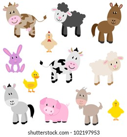 Vector Set of Cute Farm Animals