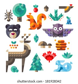 Vector set of cute flat various forest icons, geometric proportions. Forest animals contain owl, deer, squirrel, rabbit.