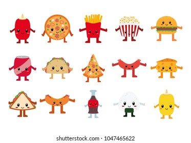 Vector Set Of Cute Food Characters Isolated On White Background