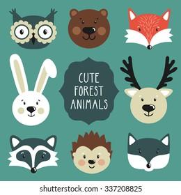 Vector set of cute forest animals: owl, bear, fox, rabbit, deer, raccoon, hedgehog, wolf.