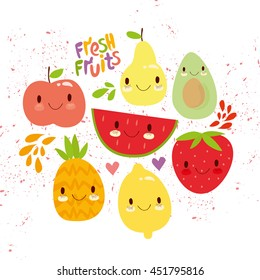 vector set of cute fruit. very sweet apple, watermelon, avocado, pear, lemon, strawberry, pineapple. for textures, textiles, fabrics, packaging, background, web design. summer fresh
