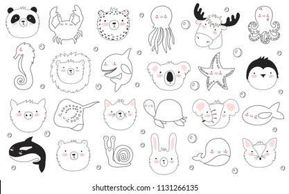 Vector set of cute funny animals. Sticker collection with adorable doodle objects on background. Valentine's day, anniversary, baby shower, bridal, birthday