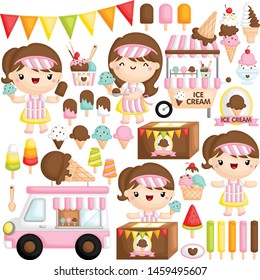A Vector Set of Cute Girl Ice Cream Seller who is Happily Selling Various Ice Cream