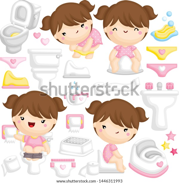Vector Set Cute Girl Learning Potty Stock Vector Royalty Free