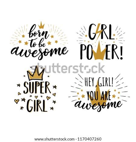 Vector Set Cute Girls Slogans Print Stock Vector Royalty Free