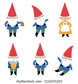 Vector set with cute gnomes.