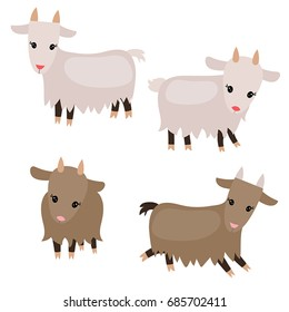 Vector set of cute goats on white background. Goats made in cartoon style.