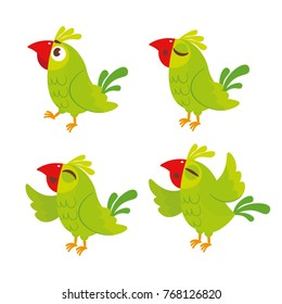 Vector set of cute green parrot. For card, calendar, sticker, baby clothes