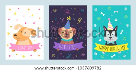 Vector Set Of Cute Greeting Cards With Dog Handdrawn Illustrations For Print