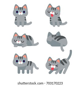 Vector set of cute grey short hair tabby cat characters in different action poses isolated on white background.