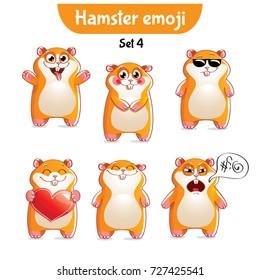 Vector set of cute hamster characters. Set 4