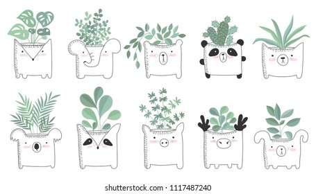 Vector set of cute house plants in funny animal pots. Poster with adorable objects on background, pastel colors. Valentine's day, anniversary, save the date, baby shower, bridal, birthday
