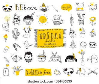 Vector set of cute isolated doodle tribal animals and other pictures for kid's interiors, cards, banners and posters.
