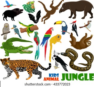 vector set of cute jungle kids animals