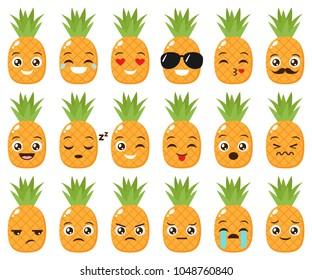 Vector set of cute kawaii pineapple emojis