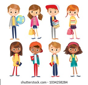 Vector set with cute kids.  School children with books and school supplies.